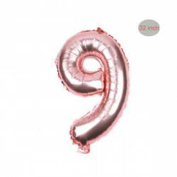 "#9 32"" Large Helium Foil Numbers Balloons for Birthday Party, Wedding - Rose Gold"