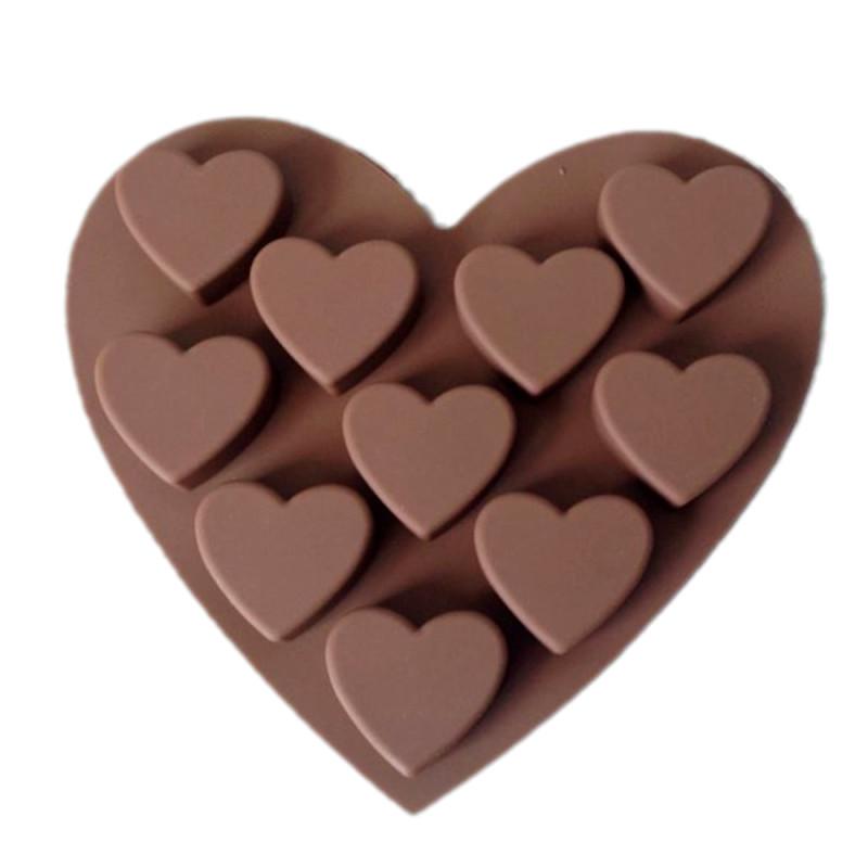 10-Cavity Hearts Heart Shape Silicone Mould