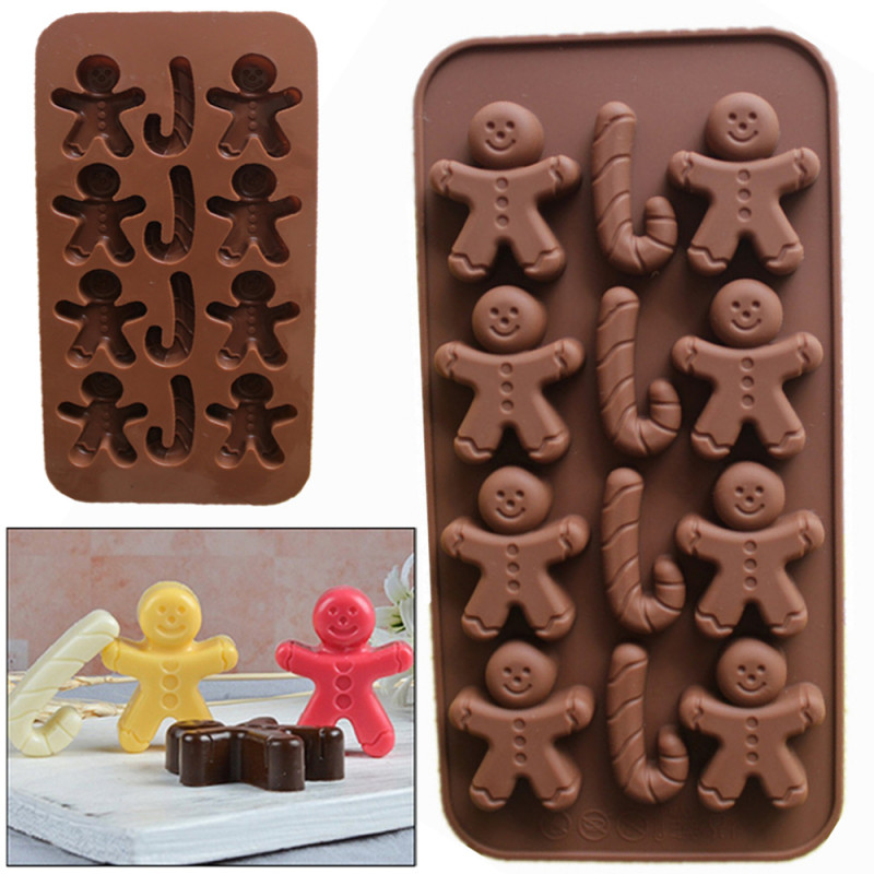 12-Cavity Gingerbread Men and Candy Canes Silicone Mould