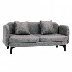 1:12 Dollhouse two-Seater Modern Leather Sofa with Cushions - Grey