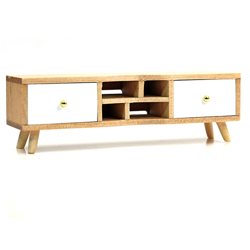 1:12 Dollhouse Long Modern TV Cabinet with Drawers - White