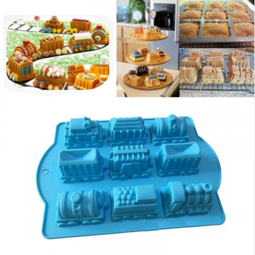 9-Cavity Train Vehicle Silicone Mould