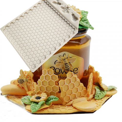 Honeycomb and Bees Texture Silicone Mould
