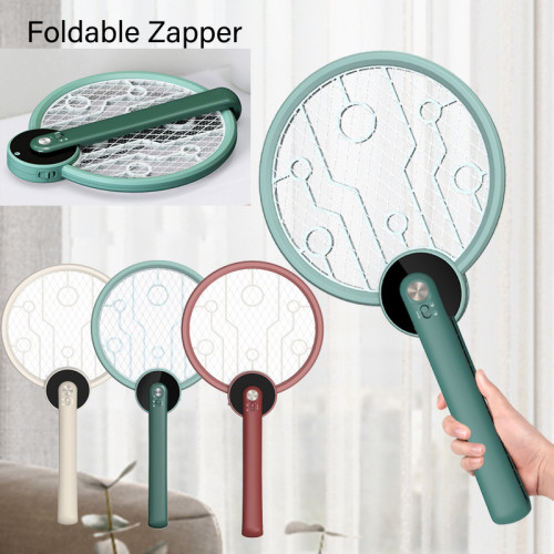 Foldable 2-in-1 Electric Shock Mosquito Swatter Lamp USB Rechargeable