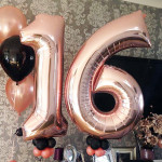 "32"" Large Helium Foil Numbers Balloons for Birthday Party, Wedding - Rose Gold"
