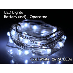 2M 20 LED Fairy Light (Cool White) - Waterproof Copper String Battery Operated
