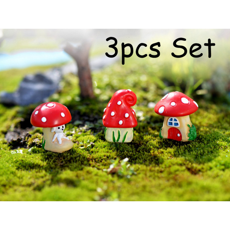 3PCS Mushroom House For Fairy Garden Mini Decorative 9597