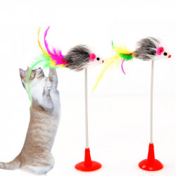 Cat Kitten Toy Colourful Small Mouse w Feather Tail + Suction Cup