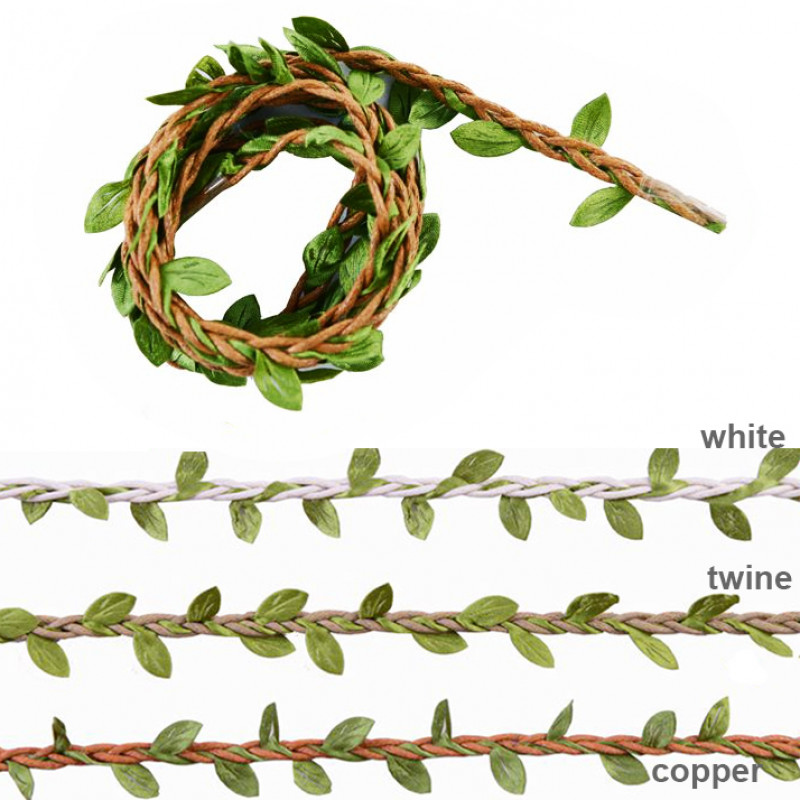10 yard (9.14 meters) Copper Cotton Leaf Green Leaves Twisted Cord