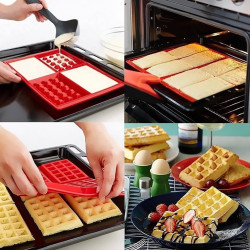 4-Cavity Standard Rectangle Waffle Shaped Silicone Mould
