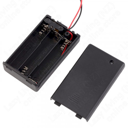 Battery Box with leads, ON/OFF, Hard Plastic Case, 3X AA