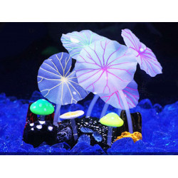 Aquarium Decor Silicone Lotus Leaves & Mushroom