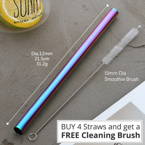 Stainless Steel Smoothie Drinking Straw - Colorful Rainbow