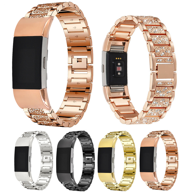 Fitbit Charge 2 Diamante Metal Strap Stainless Steel - black, silver, gold, rose gold