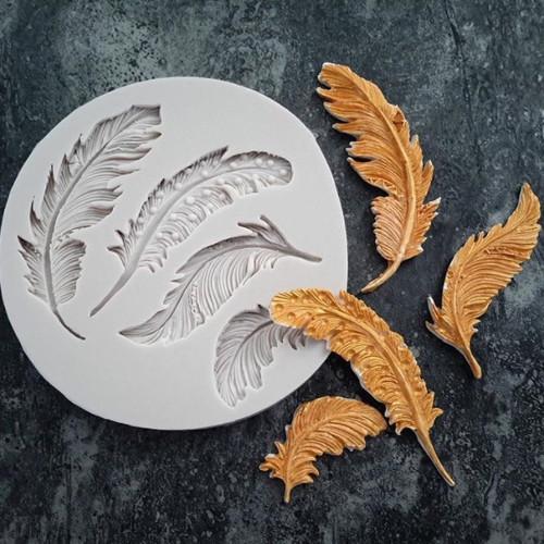 4 Feathers Silicone Mould Cake Decorating Fondant Mold