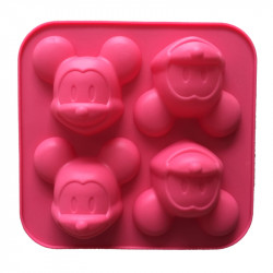 4-Cavity Cartoon Mickey Mouse Head Silicone Mould