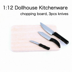 1:12 Chopping Board + 3pcs Knife Dollhouse Kitchen Miniatures Kitchenware Accessories