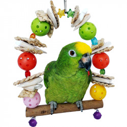 Natural Colourful Bird Parrot Stand Gate Cuttlefish bone Chewing Cage Hanging Birds Toy