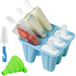 6 Pieces Popsicle Molds Silicone Ice Pop Maker Mold with Silicone Funnel and Cleaning Brush
