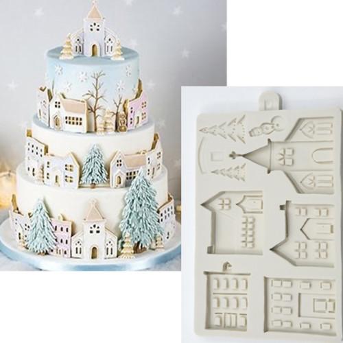 Christmas Trees Houses Silicone Mould Cake Decorating Fondant Mold