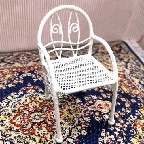 Handmade Dollhouse Metal Iron Chair with Arms