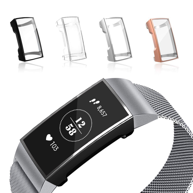 Screen Protector For Fitbit Charge 3 Soft Slim TPU Full-Around Smartwatch Protective Case Cover