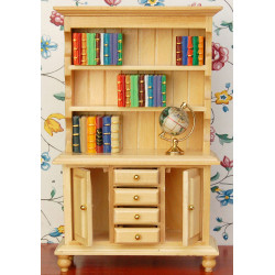 1:12 Scale Wood Book Shelf Cabinet - Dollhouse Furnitures Natural Wooden Colour