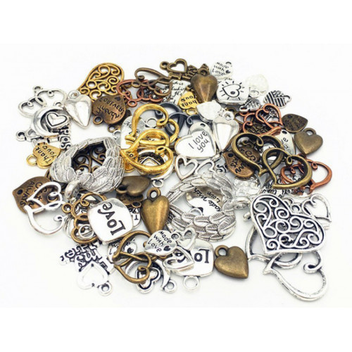 100g Assorted (Approx 70pcs) Steampunk Gears Hearts Set