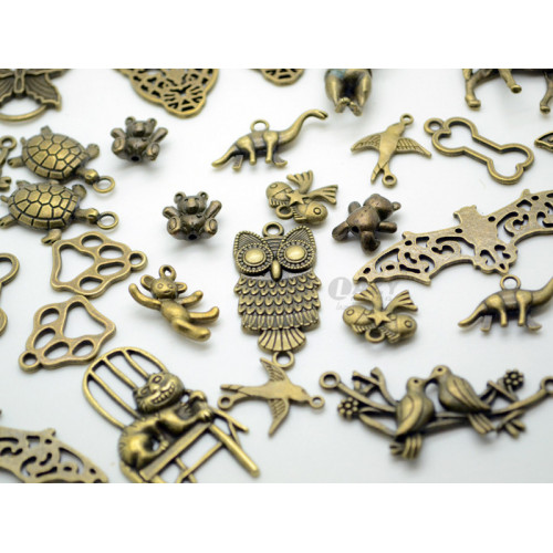 100g Assorted (Approx 35pcs) Steampunk Owl Gears Animal Set