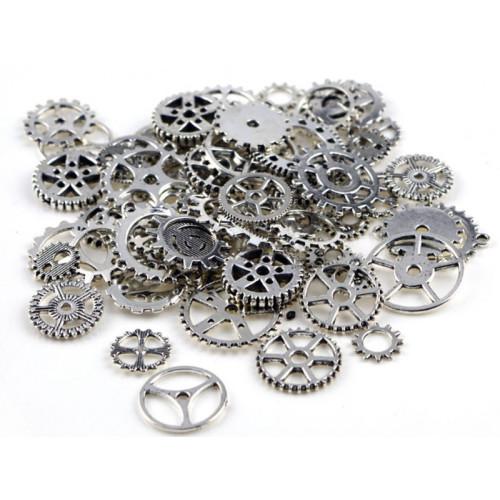 100g Assorted Cogs Steampunk Gears Clock Watch Wheel Set
