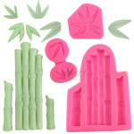 3Pcs set Bamboo and Leaves Silicone Fondant Moulds