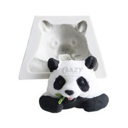 Panda Eating Bamboo Flat Back Top Half Silicone Resin Mould