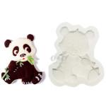 Panda Eating Bamboo Flat Back Full Body Silicone Resin Mould