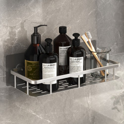Rectangular Silver Shower Caddy Aluminum No Drilling Required