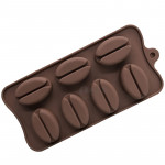 image: 7-Cavity Large Coffee Bean Chocolate Silicone Baking Mould