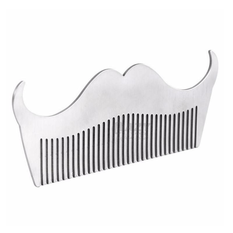 image:Men Beard Modeling Pocket Size Comb Tool Stainless Steel