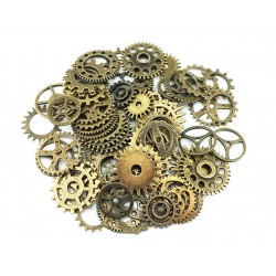 100g Assorted (Approx 70pcs) Steampunk Gears Clock Watch Wheel Set