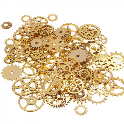 100g Ancinet Gold Assorted Steampunk Gears Clock Watch Wheel Set